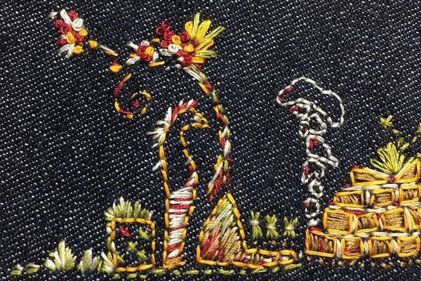 Cotton and Silk Embroidery on Denim