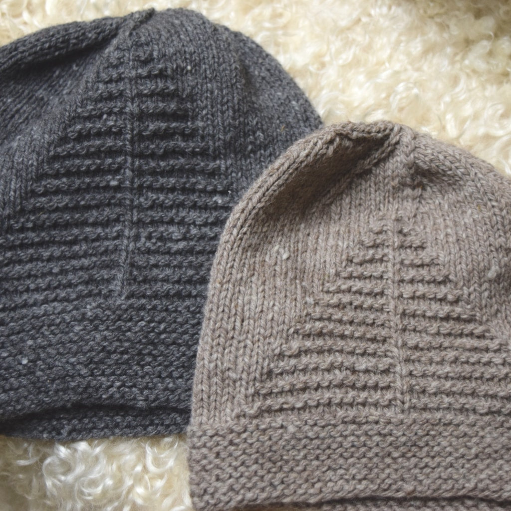 Aviary Hats knit in gray and rose gray