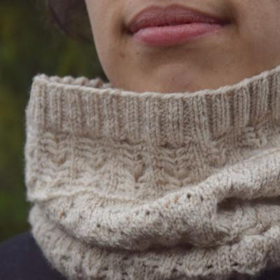 Josef & Anni cowl pattern knit in Cinnamon