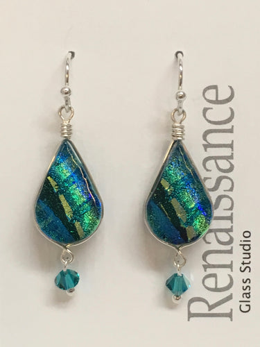 Dichroic Glass Earrings - Teal Green Gold Blue with Swarovski Crystal