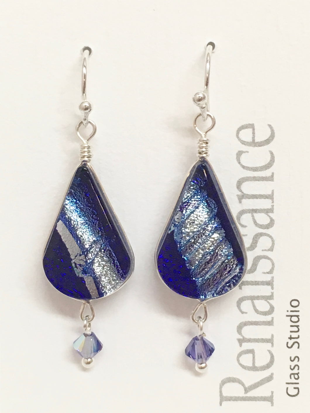 Dichroic Glass Earrings - Blue & Silver with Swarovski Crystal