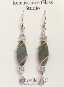 Purple Apatite Earrings with Swarovski Crystal