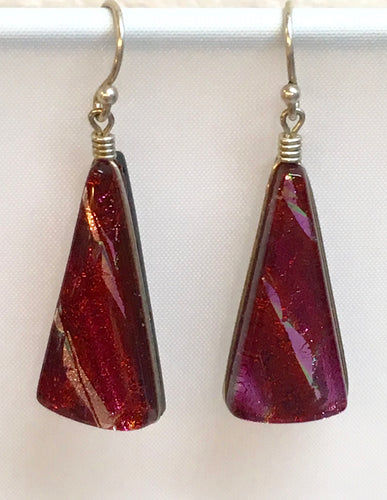 Dichroic Glass Earrings - Fuchsia & Pink