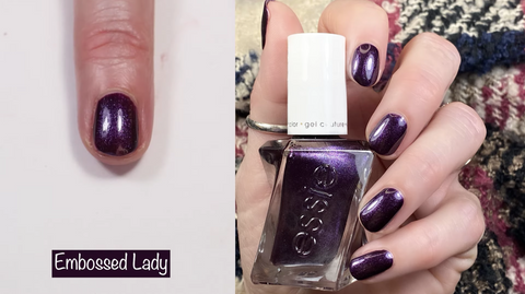 Essie Gel Couture Embossed Lady - swatch by @livwithbiv