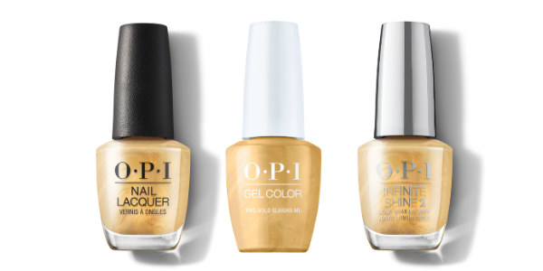 OPI Nail Lacquer, GelColor & Infinite Shine - This Gold Sleighs Me