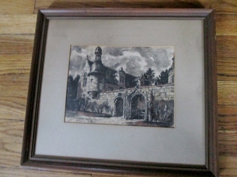 Signed Vintage 1953 Jean Rigaud 1912-1999 Vintage Original Painting Drawing CHURCH