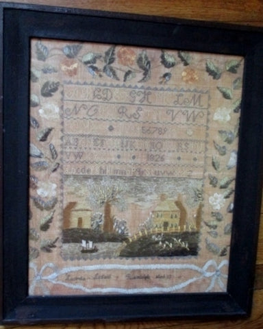 Antique 1826 Primitive ALPHABET NEEDLEPOINT SAMPLER ART PRINT EARLY FOLK