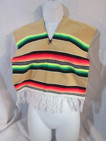 NEW Mexican Serape Blanket Poncho Vest Ethnic Fringe RAINBOW Striped