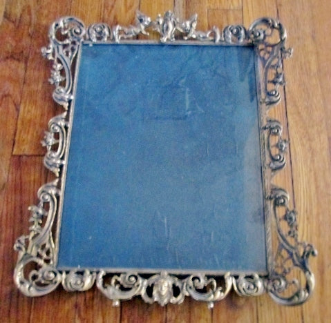 Vintage Art BRASS Picture Painting Frame Rustic Cherub Face GOLD ART DECO NOUVEAU