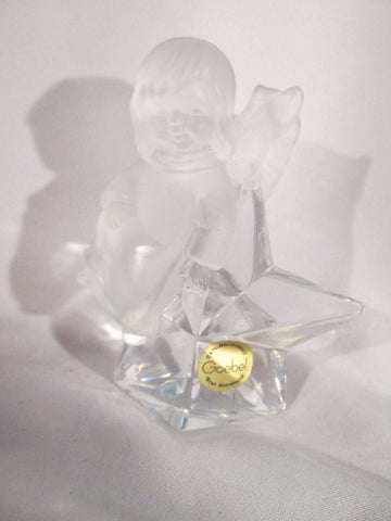 Vintage GOEBEL WEST GERMANY Glass Figurine Paperweight CLEAR GIRL STAR ANGEL Frosted