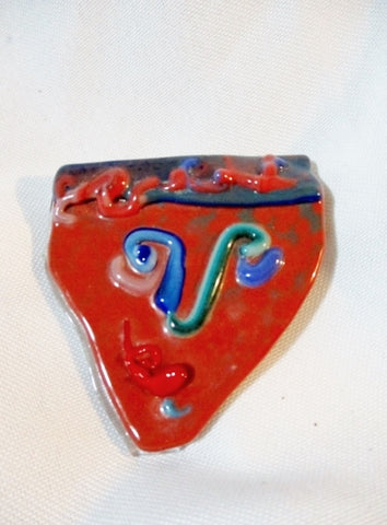 Handmade GLASS ABSTRACT FACE PIN ART BROOCH Jewelry Modernist Cubist
