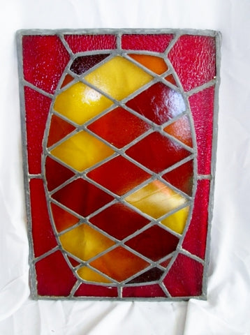 2' Handmade Stained Glass Window PINEAPPLE Sun Catcher Art Colorful RED ORANGE YELLOW