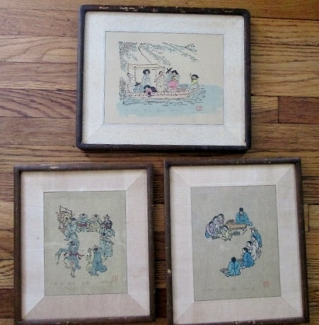 Vintage OLD SET Signed YOON FLUTE BOAT MUSIC ASIAN PRINT ART Frame Picture