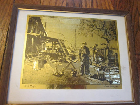 "8 X 10"" LIONEL BARRYMORE POINT MUGU Gold Etched Foil Print ART NAUTICAL Framed"