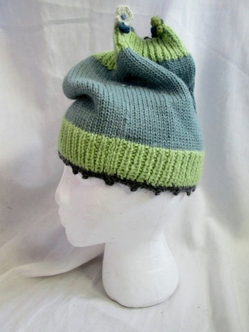 NEW LITTLE JOURNEYS CHICAGO 100% ALPACA WOOL Knit Hat Cap Beanie OS GREEN BLUE