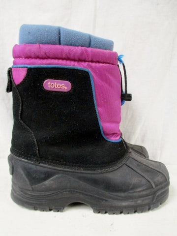 Girls TOTES JEAN Insulated Waterproof Rain Snow Boots Winter 4 BLACK PURPLE Leather