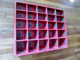"23"" Handmade Painted RUSSIA Wood Primitive Shelf Shadow Box Case RED Organizer"