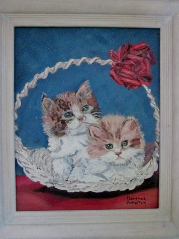 Vintage SIGNED 1960s FLORENCE JOHNSTON PAINTING Frame ART 2 KITTEN CAT Kitty TAN