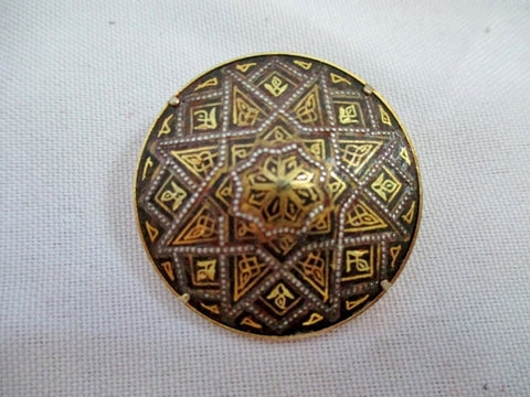 SPAIN Round DAMASCENE TOLEDO Niello STAR GOLD BLACK pin brooch medallion badge Spanish