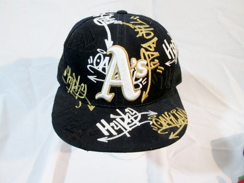 NEW COOPERSTOWN GRAFFITI OAKLAND A's baseball cap hat BLACK 7 3/8 EMBROIDERED