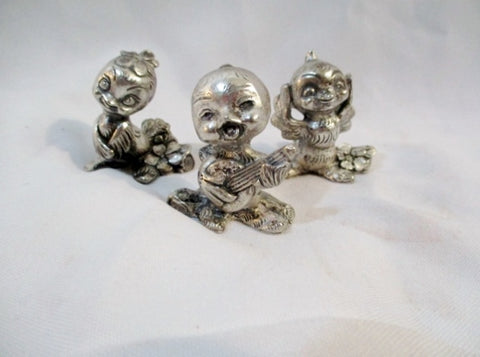 SET Mini PELTRO ITALY Cast Pewter BIRD GUITAR CHICK BABY Figurine Art