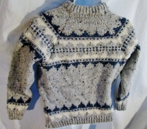 Mens GAELTARRA IRELAND NORDIC Fair Isles Wool Knit Sweater Cardigan Ethnic L GRAY