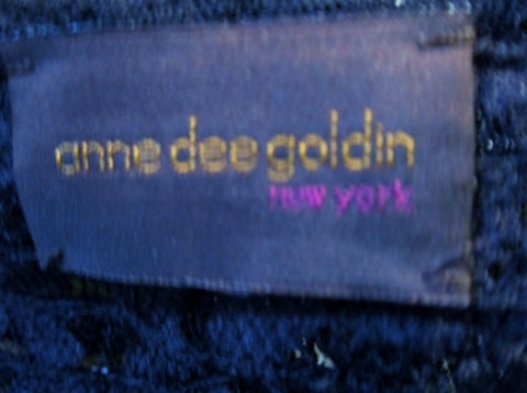 ANNE DEE GOLDIN NEW YORK BOLERO Jacket Ruffle Lace M BLACK RABBIT FUR