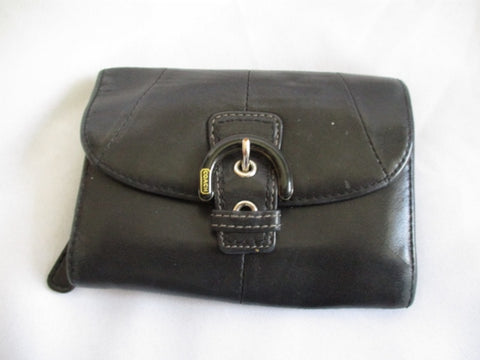 COACH BUCKLE Leather Trifold Change Purse Wallet Pouch BLACK Organizer