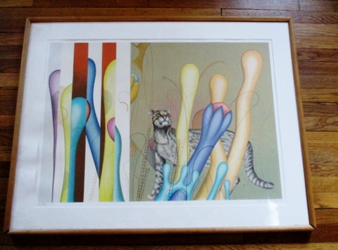 SIGNED ORIGINAL YANKEL GINZBURG LITHOGRAPH CAT Picture ART Print Limited