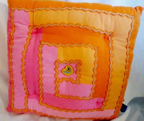 POTTERY BARN TEEN PB Pink Orange Corduroy Throw PILLOW 15X15 PINK ORANGE Dorm