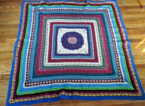 "Handmade Crochet GRANNY SQUARE Blanket Throw Bedspread Cover Knit 64"" MULTI"