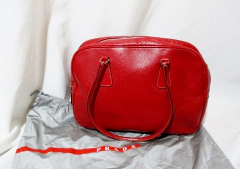 Genuine PRADA Box Bowler Saffiano Red Leather Satchel Bag Purse