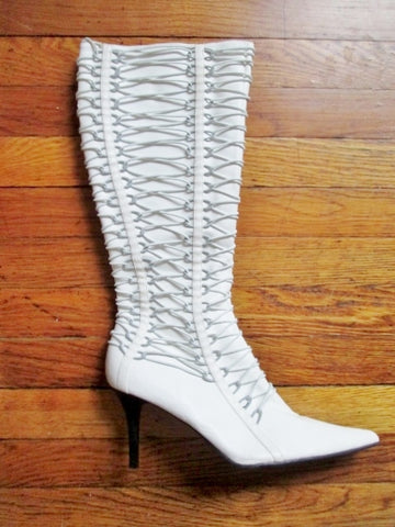 Womens GO MAX GENTLE Vegan High Heel Boots FETISH WHITE 10 Steampunk Strappy