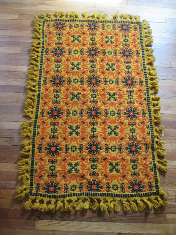 Vintage 3.5' X 5' Woven Wool Rug Carpet Mat Area GOLD YELLOW BLACK ORANGE Ethnic Native