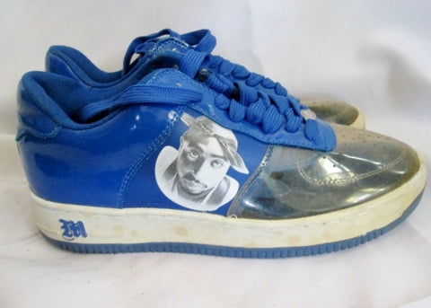Mens Tupac Shakur 2PAC Makaveli Branded SHOES RAP HIP HOP Sneaker 9.5 BLUE Lowrise