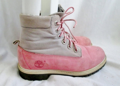 Youth Girls TIMBERLAND 16949 Hiking Trekking Boot Suede Leather Shoe PINK 4.5