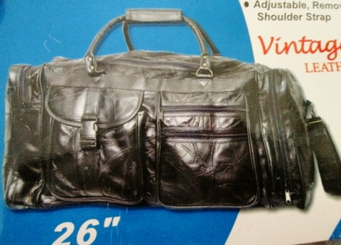 NEW NWT VINTAGE LEATHER Travel Carry-On Overnighter Luggage Duffle Bag BLACK XL