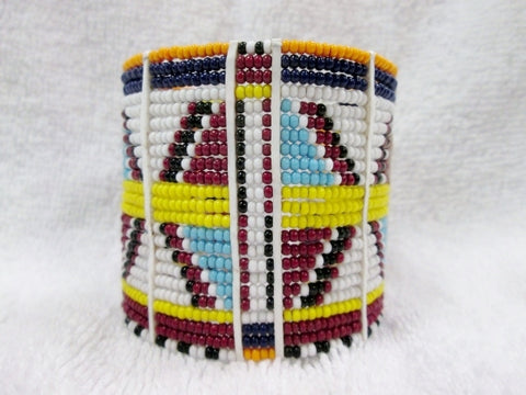 Handmade Multi-Strand AFRICA Bead BRACELET Tribal Ethnic Cuff Bangle WHITE MULTI