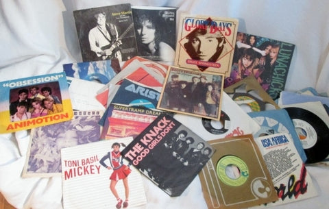 Lot Vintage 1970s 1980s Music Record Albums 45 w Sleeves ROCK ROLL DURAN DURAN ++