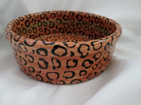 "GAETANO POTTERY USA Ceramic Pottery 8"" SERVING BOWL Dish LEOPARD JAGUAR CHEETAH Animal"
