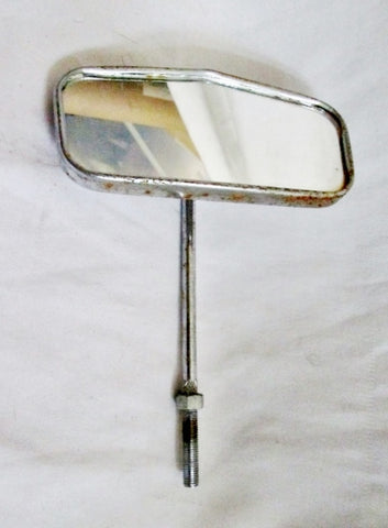 Vintage Silver REAR VIEW MIRROR Rearview Automobile Car Retro Original Authentic Prop