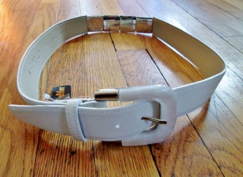 NEW NWT Womens SANDY DUFTLER Equestrian Patent Leather Belt WHITE SILVER M USA Acrylic