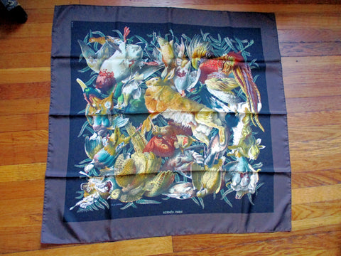 NEW HERMES PARIS GIBIERS SILK SCARF LINARES Exotic BIRD BROWN BLACK NIB