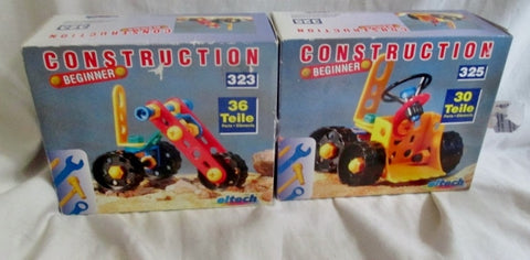 Set NEW NIB 2 EITECH BEGINNER CONSTRUCTION SET 323 + 325 Truck Building Toy  Parts