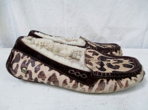 Womens UGG AUSTRALIA 1002242 CHEETAH Suede Moc  6 Slippers LEOPARD Shoe CALF HAIR