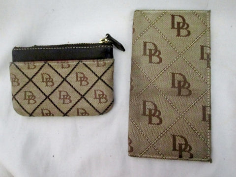 Lot Set 2 DOONEY & BOURKE signature change purse Wallet Organizer Canvas BROWN Checkbook