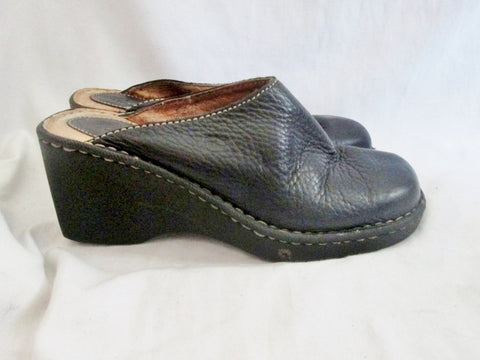 Womens BORN Leather Clog Shoe Slip-On Loafer Comfort Walking BLACK 7 Mule
