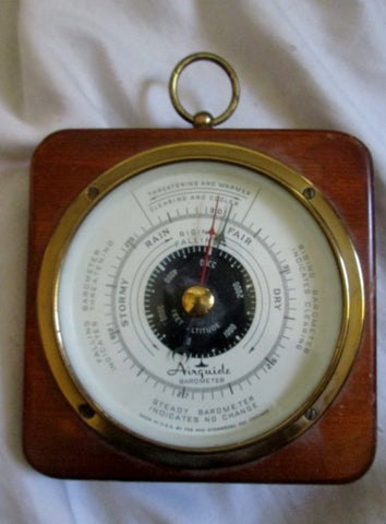 Vintage AIRGUIDE FEE STEMWEDEL Rain Barometer Wood Brass Nautical Rustic Primitive