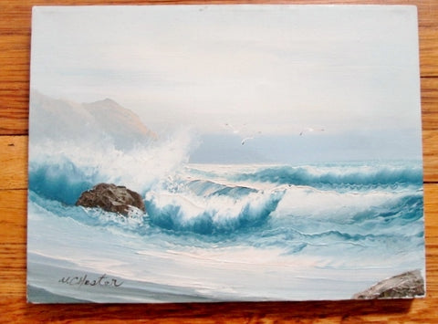 Signed Original W. CHESTER PAINTING ART Seascape Ocean Wave Seagull Rock Nautical