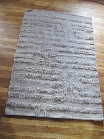 NEW 4' x 6' WEST ELM MAZE Rug Carpet Mat Wool Area BEIGE BROWN NATURAL FIBER